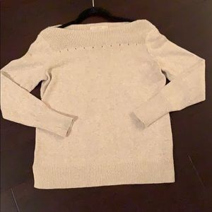 LOFT tan boatneck sweater